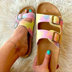 Tie Dye Footbed Sandals